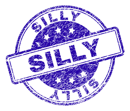 SILLY stamp seal watermark with grunge texture. Designed with rounded rectangles and circles. Blue vector rubber print of SILLY caption with grunge texture.