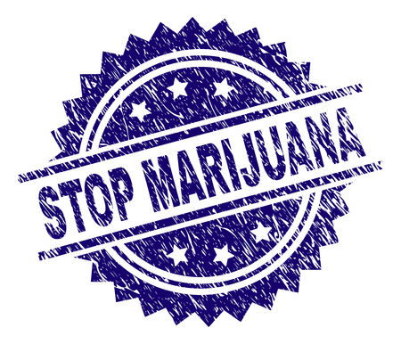 STOP MARIJUANA stamp seal watermark with distress style. Blue vector rubber print of STOP MARIJUANA caption with scratched texture.