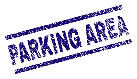 PARKING AREA seal print with scratced style. Blue vector rubber print of PARKING AREA title with scratched texture. Text title is placed between parallel lines.