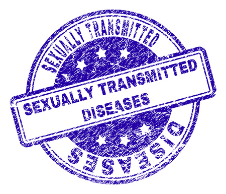 SEXUALLY TRANSMITTED DISEASES stamp seal watermark with grunge texture. Designed with rounded rectangles and circles.