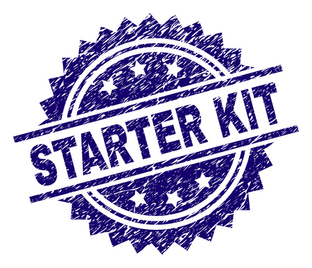STARTER KIT stamp seal watermark with distress style. Blue vector rubber print of STARTER KIT label with retro texture. 일러스트
