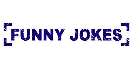 FUNNY JOKES title seal stamp with distress texture. Text title is placed inside corners. Blue vector rubber print of FUNNY JOKES with grunge texture.