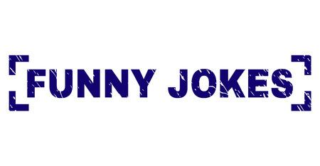 Sello de título de chistes divertidos con textura de angustia. El título del texto se coloca dentro de las esquinas. Impresión de goma azul vector de chistes divertidos con textura grunge.