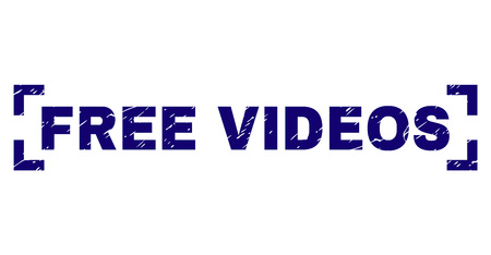 FREE VIDEOS label seal stamp with corroded texture. Text label is placed between corners. Blue vector rubber print of FREE VIDEOS with dirty texture. Illustration