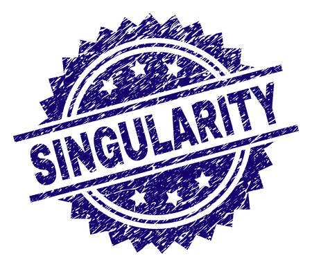 SINGULARITY stamp seal watermark with distress style. Blue vector rubber print of SINGULARITY label with retro texture.