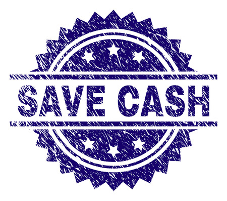 SAVE CASH stamp seal watermark with distress style. Blue vector rubber print of SAVE CASH text with unclean texture.