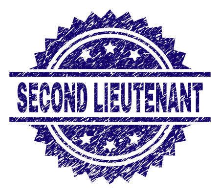 SECOND LIEUTENANT stamp seal watermark with distress style. Blue vector rubber print of SECOND LIEUTENANT title with corroded texture. 向量圖像