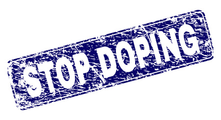 STOP DOPING stamp seal print with grunge style. Seal shape is a rounded rectangle with frame. Blue vector rubber print of STOP DOPING title with scratched style.