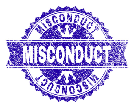 MISCONDUCT rosette seal imprint with grunge texture. Designed with round rosette, ribbon and small crowns. Blue vector rubber watermark of MISCONDUCT label with grunge texture.