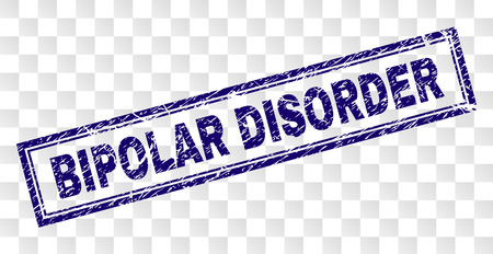 BIPOLAR DISORDER stamp seal print with rubber print style and double framed rectangle shape. Stamp is placed on a transparent background.
