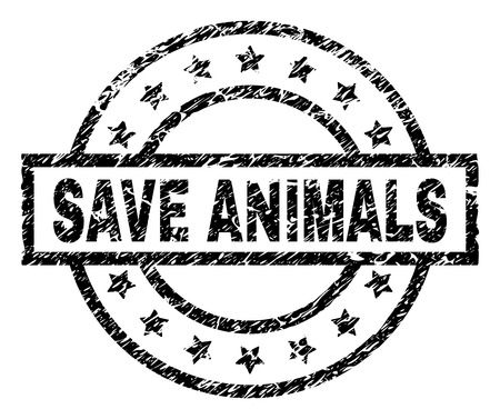 SAVE ANIMALS stamp seal watermark with distress style. Designed with rectangle, circles and stars. Black vector rubber print of SAVE ANIMALS label with corroded texture.