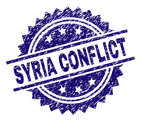 SYRIA CONFLICT stamp seal watermark with distress style. Blue vector rubber print of SYRIA CONFLICT tag with dirty texture.