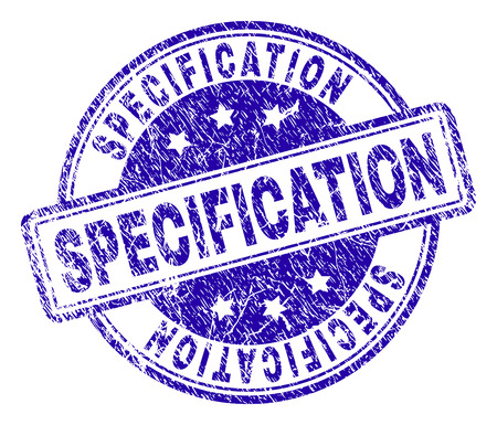 SPECIFICATION stamp seal imprint with grunge texture. Designed with rounded rectangles and circles. Blue vector rubber print of SPECIFICATION label with dust texture.