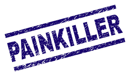 PAINKILLER seal print with grunge style. Blue vector rubber print of PAINKILLER text with dust texture. Text caption is placed between parallel lines.