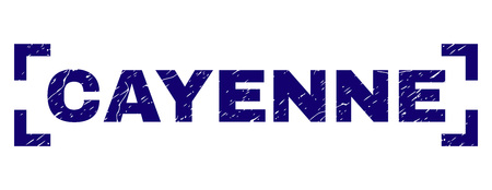 CAYENNE text seal watermark with corroded texture. Text tag is placed between corners. Blue vector rubber print of CAYENNE with corroded texture. Ilustração