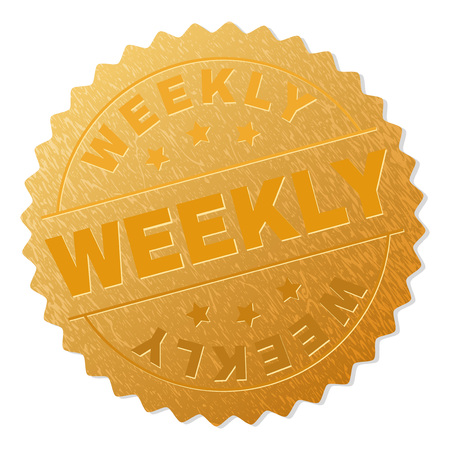 WEEKLY gold stamp seal. Vector gold award with WEEKLY text. Text labels are placed between parallel lines and on circle. Golden skin has metallic texture.