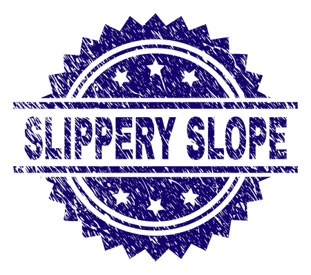 SLIPPERY SLOPE stamp seal watermark with distress style. Blue vector rubber print of SLIPPERY SLOPE title with retro texture.