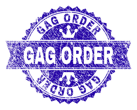 GAG ORDER rosette stamp seal imitation with grunge texture. Designed with round rosette, ribbon and small crowns. Blue vector rubber print of GAG ORDER text with grunge texture.