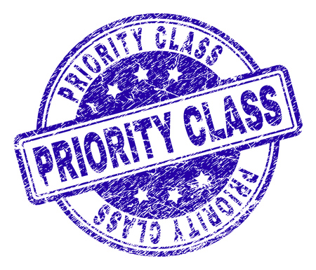 PRIORITY CLASS stamp seal imprint with grunge texture. Designed with rounded rectangles and circles. Blue vector rubber print of PRIORITY CLASS text with scratched texture.