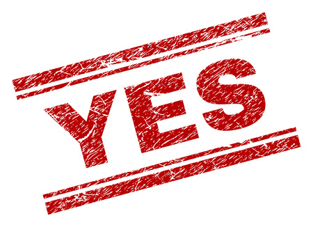 YES seal print with distress texture. Red vector rubber print of YES text with dirty texture. Text title is placed between double parallel lines.