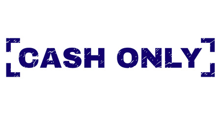 CASH ONLY text seal watermark with grunge texture. Text tag is placed inside corners. Blue vector rubber print of CASH ONLY with grunge texture.