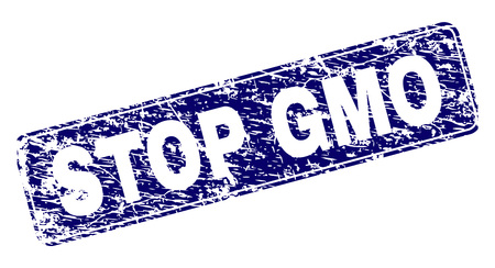 STOP GMO stamp seal print with distress texture. Seal shape is a rounded rectangle with frame. Blue vector rubber print of STOP GMO tag with corroded texture.