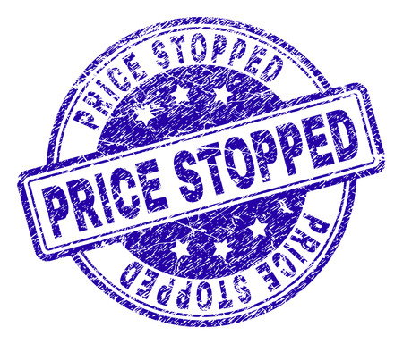 PRICE STOPPED stamp seal watermark with distress texture. Designed with rounded rectangles and circles. Blue vector rubber print of PRICE STOPPED tag with corroded texture.