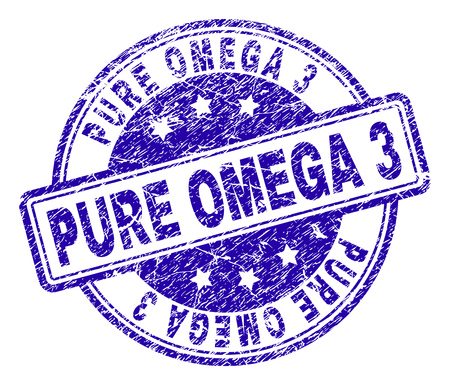 PURE OMEGA 3 stamp seal imprint with grunge texture. Designed with rounded rectangles and circles. Blue vector rubber print of PURE OMEGA 3 tag with retro texture.