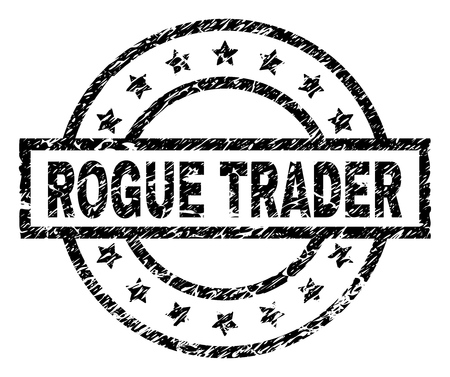 ROGUE TRADER stamp seal watermark with distress style. Designed with rectangle, circles and stars. Black vector rubber print of ROGUE TRADER label with dirty texture.