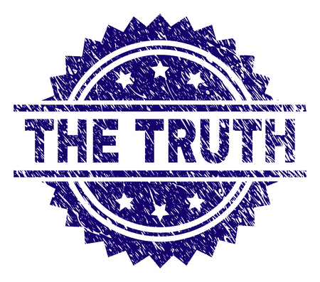 THE TRUTH stamp seal watermark with distress style. Blue vector rubber print of THE TRUTH caption with unclean texture.