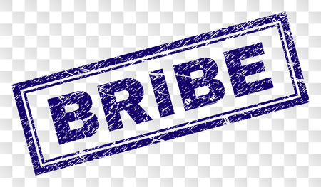 BRIBE stamp seal imprint with rubber print style and double framed rectangle shape. Stamp is placed on a transparent background. Blue vector rubber print of BRIBE caption with dust texture.