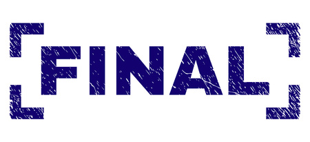 FINAL title seal print with grunge texture. Text label is placed inside corners. Blue vector rubber print of FINAL with grunge texture. Illusztráció