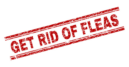 GET RID OF FLEAS seal stamp with corroded texture. Red vector rubber print of GET RID OF FLEAS label with retro texture. Text caption is placed between double parallel lines. Illustration