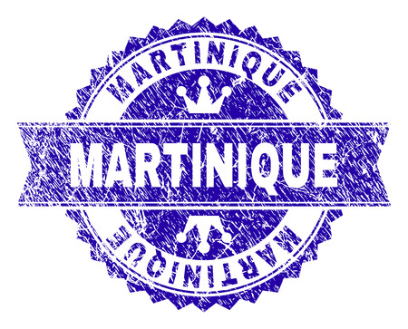 MARTINIQUE rosette seal imprint with grunge texture. Designed with round rosette, ribbon and small crowns. Blue vector rubber watermark of MARTINIQUE text with corroded texture. Vetores