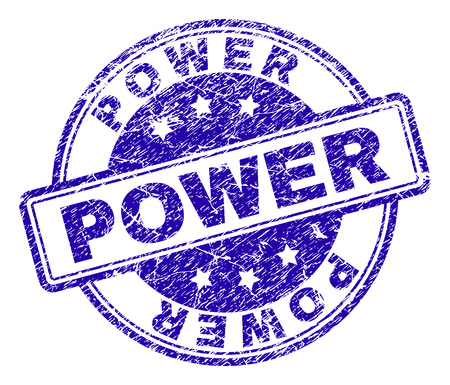 POWER stamp seal imprint with distress texture. Designed with rounded rectangles and circles. Blue vector rubber print of POWER caption with corroded texture. Иллюстрация