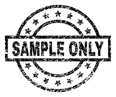 SAMPLE ONLY stamp seal watermark with distress style. Designed with rectangle, circles and stars. Black vector rubber print of SAMPLE ONLY caption with retro texture.