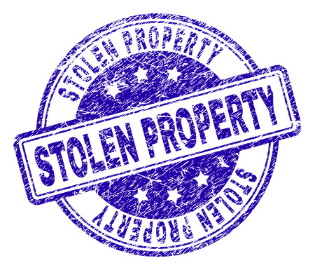 STOLEN PROPERTY stamp seal imprint with distress texture. Designed with rounded rectangles and circles. Blue vector rubber print of STOLEN PROPERTY label with scratched texture.
