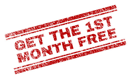 GET THE 1ST MONTH FREE seal print with grunge effect. Red vector rubber print of GET THE 1ST MONTH FREE text with scratched texture. Text label is placed between double parallel lines. Illustration