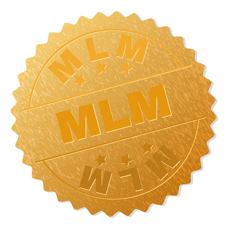 MLM gold stamp medallion. Vector golden medal with MLM text. Text labels are placed between parallel lines and on circle. Golden skin has metallic effect. Illustration
