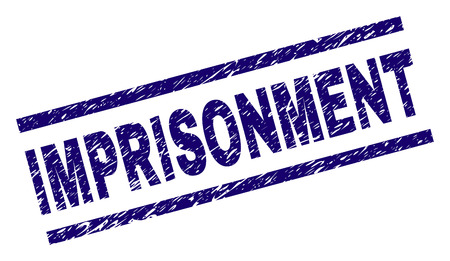 IMPRISONMENT seal watermark with grunge style. Blue vector rubber print of IMPRISONMENT text with retro texture. Text title is placed between parallel lines.