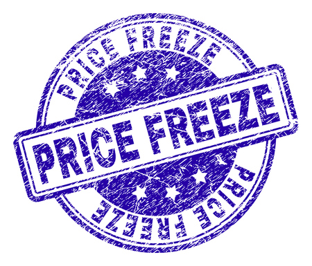 PRICE FREEZE stamp seal watermark with grunge texture. Designed with rounded rectangles and circles. Blue vector rubber print of PRICE FREEZE text with grunge texture.