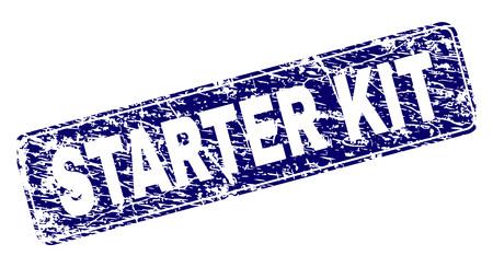 KIT DE DÉMARRAGE empreinte de sceau de timbre avec texture grunge. La forme du joint est un rectangle arrondi avec cadre. Impression en caoutchouc de vecteur bleu de l'étiquette STARTER KIT avec texture grunge. Vecteurs