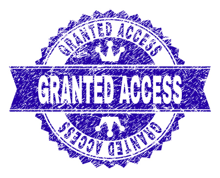 GRANTED ACCESS rosette stamp watermark with grunge texture. Designed with round rosette, ribbon and small crowns. Blue vector rubber watermark of GRANTED ACCESS caption with retro texture.