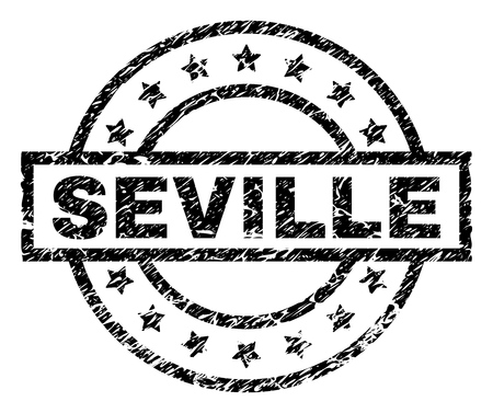 SEVILLE stamp seal watermark with distress style. Designed with rectangle, circles and stars. Black vector rubber print of SEVILLE caption with unclean texture.