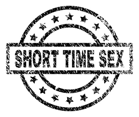SHORT TIME SEX stamp seal watermark with distress style. Designed with rectangle, circles and stars. Black vector rubber print of SHORT TIME SEX text with dust texture.