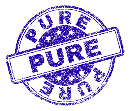 PURE stamp seal imprint with distress texture. Designed with rounded rectangles and circles. Blue vector rubber print of PURE caption with unclean texture.