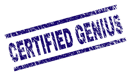 CERTIFIED GENIUS seal print with grunge style. Blue vector rubber print of CERTIFIED GENIUS text with grunge texture. Text label is placed between parallel lines.
