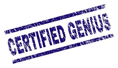 ZERTIFIZIERTER GENIUS-Siegeldruck im Grunge-Stil. Blauer Vektorgummidruck von CERTIFIED GENIUS-Text mit Grunge-Textur. Die Textbeschriftung wird zwischen parallelen Linien platziert.