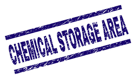 CHEMICAL STORAGE AREA seal stamp with grunge style. Blue vector rubber print of CHEMICAL STORAGE AREA text with grunge texture. Text label is placed between parallel lines.