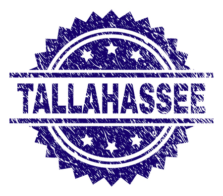 TALLAHASSEE stamp seal watermark with distress style. Blue vector rubber print of TALLAHASSEE label with corroded texture.